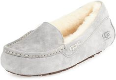 UGG Australia Ansley Moccasin Slipper in Light Grey Black and Chestnut at NEIMAN MARCUS