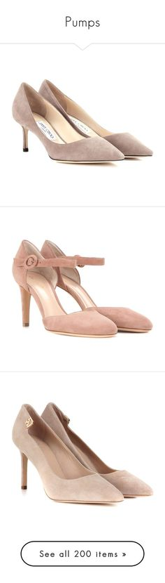 """Pumps"" by theprissydiary ❤ liked on Polyvore featuring shoes, pumps, grey, mid-heel, gray pumps, mid heel shoes, suede pumps, grey suede shoes, suede leather shoes and pink"