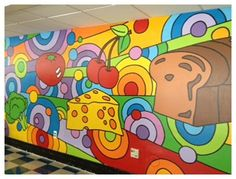 Wall decoration school art projects Ideas for 2019 School Hallways, School Murals, Art School, School Style, Mural Art, Wall Murals, School Cafeteria Decorations, School Lunchroom, Decoration Restaurant