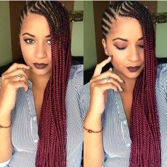 Braids By : Unknown You can never go wring with side brides, this is one hairstyle that brings out all the features in your face, giving you the beyonce kinda glow.
