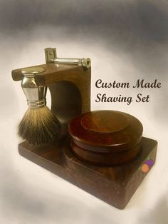 Complete Shaving Set Holder: I recently inherited my Grandfathers old razor, so I decided to invest in some real shaving supplies. Shaving Stand, Shaving Set, Shaving Brush, Wet Shaving, Beard Oil And Balm, Beard Balm, Shaving Supplies, Razor Stand, The Art Of Shaving