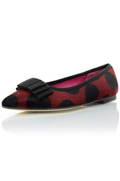 Dress to impress when you pair these sweet flats with any outfit. Whether you're going to work or dressing up to go somewhere, you can't go wrong with these flats. Details: A black and red, haircalf, polka dot, triple layer bow flat.   Spotted Haircalf Flat by Le Babe . Shoes - Flats - Ballet South Carolina