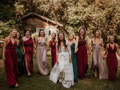 Bride with bridesmaids in emerald, ruby and taupe dresses Wedding Roles, Wedding Bride, Dream Wedding, Wedding Color Combinations, Wedding Color Schemes, Red Bridesmaid Dresses, Brides And Bridesmaids, Taupe Dress, Dress Red