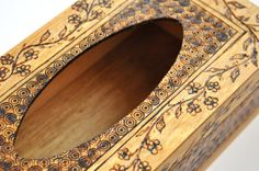 "Tissue Box, Woodburned, Design I, 6"" x 4"" x 4"" (16 cm x 10 cm x 10 cm).  $16.95"