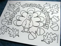 Room Mom 101: Thanksgiving Ideas for the Kids' Table Thanksgiving Coloring Pages, Thanksgiving Preschool, Thanksgiving Crafts For Kids, Thanksgiving Parties, Fall Crafts, Holiday Crafts, Holiday Fun, Thanksgiving Placemats, Holiday Ideas