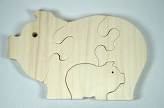 Pig Puzzle Wood Baby Pig Eco Friendly and by littlewoodenwonders