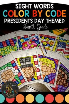 These Presidents Day Color by Sight Word pages are guaranteed to put the FUN back into learning! If you are looking for an engaging way for your fourth grade students to practice sight words, increase their reading fluency, and improve their comprehension skills, this resource is THE ONE! Included are eight differentiated pages programmed with fourth grade high frequency words. Perfect for morning work, fast finisher activities, literacy centers, and more! #frysightwords #fourthgradesightwords