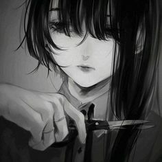 Often, I am upset. that I can not fall in love so I guess, this avoids the stress of falling out of it. Cut my hair. Sad Anime Girl, Anime Art Girl, Manga Girl, Gothic Anime, Dark Anime, Fanarts Anime, Anime Characters, Dibujos Dark, Arte Obscura