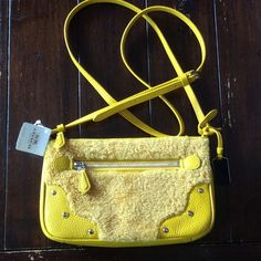 NWT Coach Crossbody PRICE DROP Adorable! Comes with gift box. Yellow leather and shearling. Coach Bags Crossbody Bags