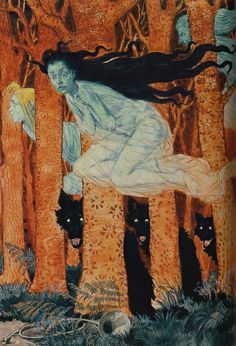 Eugène Grasset, Trois Femmes et Trois Loups, 1892  - The Angel of the Odd: Dark Romanticism from Goya to Max Ernst, Musée DOrsay, Paris; Through June 9, 2013