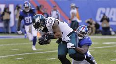 Eagles vs. Giants:  28-23, Giants  -  November 6, 2016  -    Philadelphia Eagles running back Ryan Mathews (24) takes a hit from New York Giants strong safety Landon Collins (21) during the third quarter of an NFL football game, Sunday, Nov. 6, 2016, in East Rutherford, N.J.