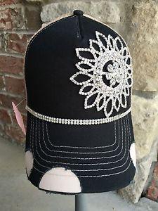 4380e362d5d New Women s Black and Beige Rhinestone Trucker Hat Baseball Hat Cap Hat  Bling