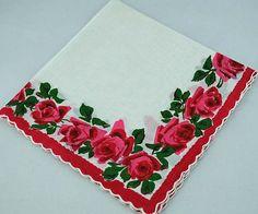 Vintage Roses Hankie For Framing, Crafting, Sewing D2