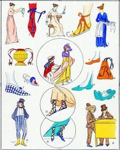 French revolution shoes fashion 1792-1799.  L'HISTOIRE DU COSTUME FÉMININ FRANÇAIS. CHAUSSURES. RÉVOLUTION. – Planche 11.