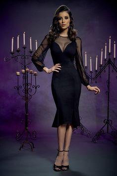 2698a40cbb1 Mila Dress in Black Ponte by Elvira Mistress of the Dark