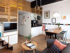 Salón, comedor, cocina, baño, dormitorio y estudio