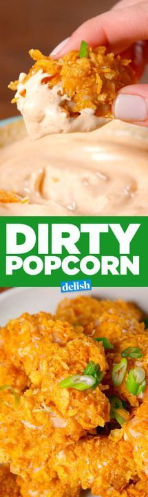 This Dirty Popcorn Chicken is so crispy, you won't believe it's baked. Get the recipe from Delish.com.