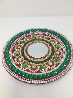 Set of decorative plate & LED candle/ decorative plate/ | Etsy Arti Thali Decoration, Thali Decoration Ideas, Diwali Decorations, Wedding Decorations, Kalash Decoration, Decor Wedding, Diwali Craft, Diwali Gifts, Bead Embroidery Patterns