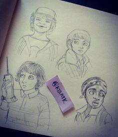 Stranger things doodles part 2 #strangerthings #fanart #doodle #sketching #ktaatk #mike #dustin #will #lucas