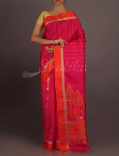 Chavi Pink And Orange Thin Gold Border Pure #PattuSilkSaree
