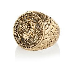 Gold tone Horse sovereign ring - rings - jewellery - men