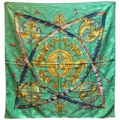 Hermes Vintage Daimyo Princes du Soleil Silk Scarf 1990