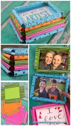 This DIY picture frame template makes the easiest paper picture frame ever- and so cute. Grab the paper and markers for this easy picture frame craft! Knutselen DIY Picture Frame- Super Simple Paper Picture Frames - The Kitchen Table Classroom
