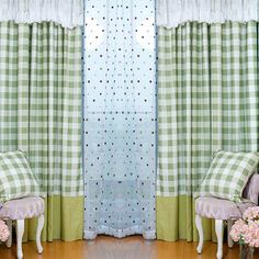 Refreshing Green Cotton/Linen Plaid Buffalo Check Curtains For Living Room. Environmental cotton and linen blend fabric is breathable, suit for living room hanging, matching with green color and plaid color. Buffalo Plaid Curtains, Buffalo Check Curtains, Dark Blue Color, Chenille Fabric, Green Cotton, Blackout Curtains, Cotton Linen, Green Colors, Living Room