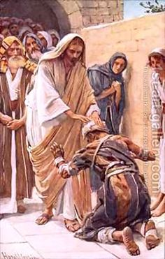"""The healing of the leper by Harold Copping. Matt. 8:1-3.  """" When he came down from the mountain, great crowds followed him; and behold, a leper came to him and knelt before him, saying, """" Lord, if you will you can make me clean.""""  And he stretched out his hand and he touched him, saying, """" I will, be clean.""""  And immediately his leprosy was cleansed."""""""