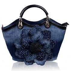 Kaxidy Ladies Girls Womens Denim Handbags Jean Flower Bag Shoulder Bag Shopper Messenger Tote Bags (Back)
