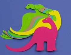 SALE - 10 Die Cut Assorted Brontosaurus for Kids Crafts