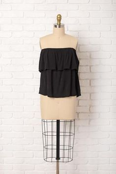 Ruffle Off-The-Shoulder Blouse in Black
