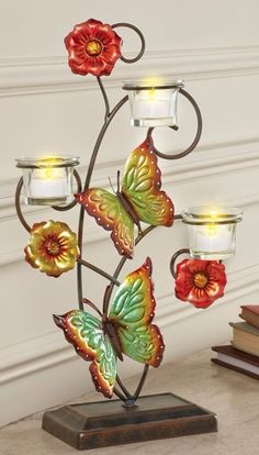 Floral Metal Butterflies Votive Tealight Holder Dining Table Scrolled Metal  #CandleHolders #Unique #Floral #Metal #Holder #Tealight #Candle #TabletopDecor #HomeDecor #MetalButterflies #ScrolledMetal #Tabletop #DiningTable #Lovely