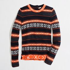 Factory warmspun stripe Fair Isle sweater