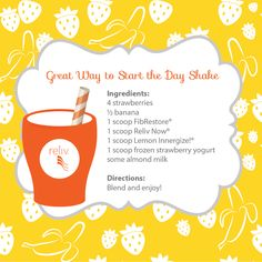 Get your day going the healthy way with this shake #recipe featuring Reliv FibRestore, Reliv Now, Innergize! and other healthy ingredients!