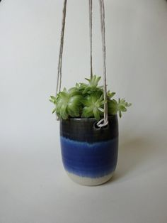 Blue and white Small long Hanging Planter - Hanging pot for succulent plants - Handmade Ceramic hanging planter