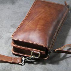 Handgemaakte lederen handtas-schoudertasje door FocusmanLeather