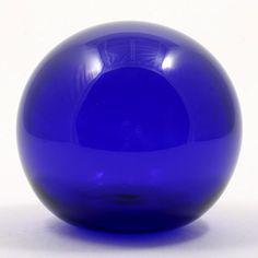 English Bristol Blue Glass Paperweight Signed Hand Blown Art Glass Cobalt