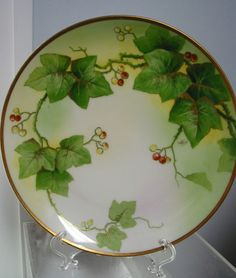 Antique Old Abbey Limoges France HandPainted Cabinet Plate,Ivy, Arist Signed #Limoges