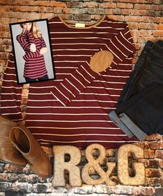 """❤️ New Arrival❤️    THE HAILIETOP by Revival & Grace Boutique    In love with elbow patches!!! So cute...so fall! This tunic is maroon/white stripe with tan elbow patches. Great with jeans or leggings.    Follow us on Instagram @revivalandgraceboutique    The material is Rayon 95%/Spandex 5%    Available Sizes:Small (0-4), Medium (5-8) , Large (9-12)    Colors: Maroon/White    Length: 28"""" on the Small    Machine wash cold/gentle 