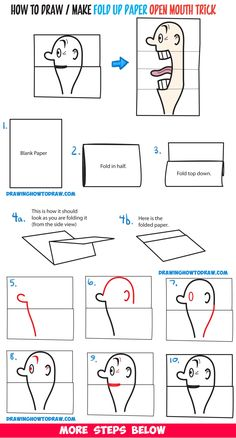 How to Draw a Big Opening Mouth Paper Folding Trick (Perfect for Cards) Easy Step by Step Drawing Tutorial & Craft for Kids | Crafts For Kids, Craft Kids, Paper Folding, Drawing People, How To Draw, Step By Step Drawing, Easy Drawings, Drawing Tutorials, Big Open Mouth Drawing, Paper Folding For Kids, Diy For Kids, Crafts For Kids, Craft Kids, How To Draw Steps, Craft Tutorials, Drawing Tutorials, Drawing Ideas