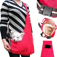 LUXMO Oxford Outward Fashion New Pet Sling-style carrier Pet Dog Cat sling Bag Hot Red Size:M ** Check out this great image