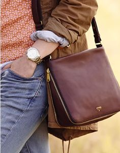 Perfect Boyfriend watch in gold stainless steel and Preston Crossbody in buttery brown leather.