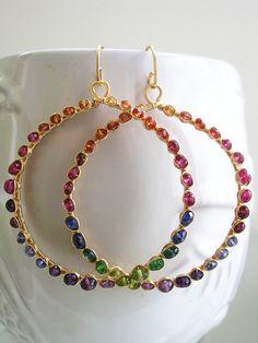 Arco iris piedras preciosas aros aretes coloridos joyas de