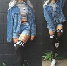 48 New Ideas For Fashion Vintage Grunge Inspiration Outfits Clueless, Edgy Outfits, Mode Outfits, Fashion Outfits, Cute Grunge Outfits, Denim Jacket Outfits, Grunge School Outfits, Style Fashion, Emo Outfits