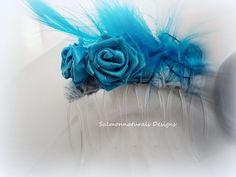 Bonny-Azure Blue hair comb-fascinator-haircomb-accessory-handmade custom. , via Etsy.
