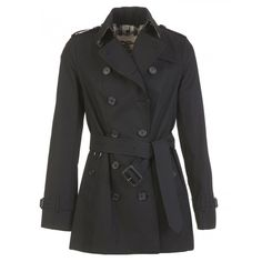 Burberry Sandringham Short Trench Coat (1,865 CAD) ❤ liked on Polyvore featuring outerwear, coats, black, burberry coat, short trench coat, burberry, short coat and burberry trenchcoat