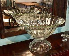 "Vintage Pressed Glass Punch Bowl   16"" Diameter x 11"" High  $240  Dealer #BBC  Lost. . .Antiques 1201 N. Riverfront Blvd. Dallas, TX 75207  Monday - Saturday: 10am - 5pm Sunday 11am - 5pm"