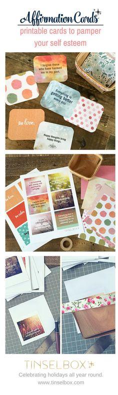 Printable Affirmation Cards: Pamper Your Self Esteem