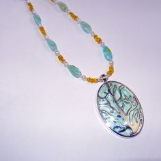 Coral Reef Beaded Pendant Necklace Yellow Mint by CloudNineDesignz, $32.00